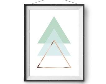 Geometric Print, Mint Art, Scandinavian Poster, Nursery Print, Downloadable Art, Triangles Print, Minimalist, Abstract Art Print, Printable