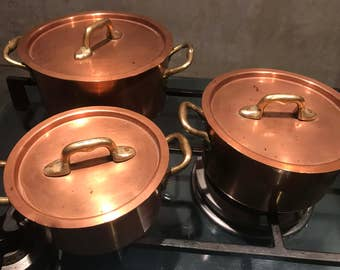 Copper Pot Cooking Set Brass Handles with Copper Rivets Paris, France