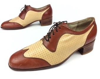 Florsheim Designer Collection Vintage Brogue Wingtip Two Tone Dress Oxfords Shoes Sz. 8 1/2 D