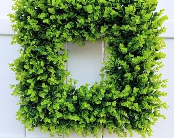 Large Square Boxwood Wreath, Boxwood Wreath, Faux Boxwood Wreath, Greenery Wreath, Green Wreath, Natural Wreath, Farmhouse Wreath