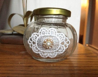 Lace appliqué favor jar with rhinestone embellishments