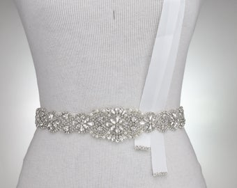 "29"" L Crystal Sash Belt, Bridal Dress Sash, Rhinestone Crystal Sash, Wedding Dress Sash Belt, Crystal Rhinestone Applique, Sash Belt 1135"
