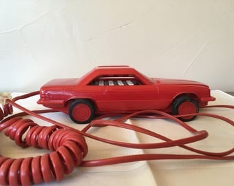 """Vintage 1980s Telephone Red Car Shaped Mercedes-Benz """"500sl""""  by Dialfone Ltd. Land Line Touch Tone Works, Mantique Man Cave Telephone"""