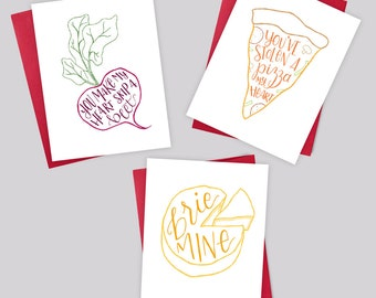 Love Card Trio – Valentine's Day Greeting Card, Beet, Brie, Pizza, Love, Anniversary, Birthday, Boyfriend, Girlfriend, Foodie, Handlettering