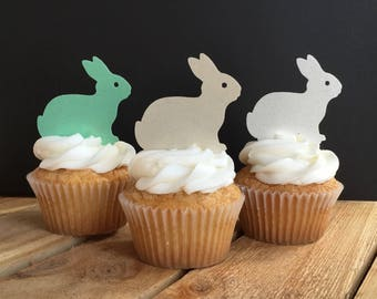 Bunny Bunnies, Easter Spring, Thin Edible Paper Cupcake Toppers, Wafer Paper, Food Safe, Please Read Item Details for more information