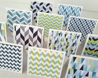 Mini note cards / mini thank you notes / mini thank you notecards set / mini blue cards / set of 12