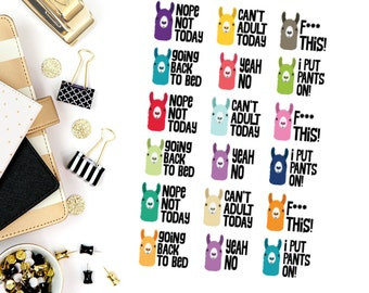 Sassy Adult Llama Stickers! Perfect for your Erin Condren Life Planner, calendar, Paper Plum, Filofax!