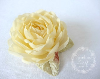 Soft Gold Pure Silk Rose Hair Clip Corsage