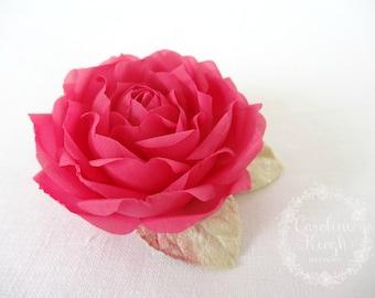 Cerise Pink Pure Silk Rose Hair Clip Corsage