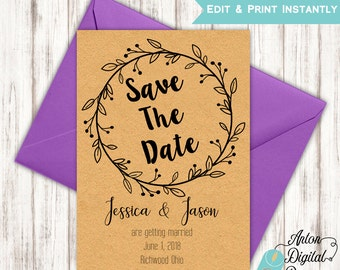 Printable Rustic Wreath Save The Date Announcement - Save The Date Template - DIY Edit & Print in Adobe Reader - Editable Template
