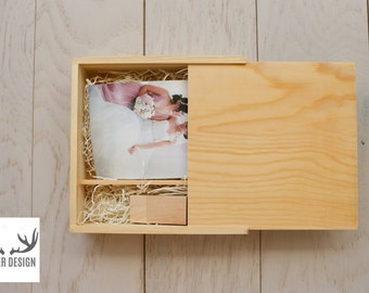 CLEARANCE: 10 X PINE Wooden 4x6 prints box and 8GB USB Set (Natural)