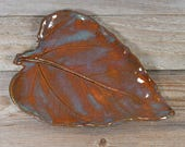 Rust Red & Turquoise Leaf - Spoon Rest - Ring Dish - Handmade