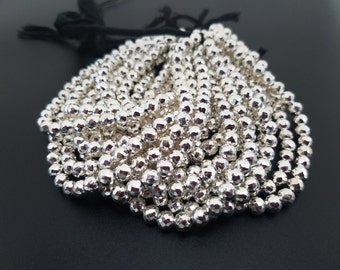 6.0 mm , Silver Pyrite Balls / 8 Inch
