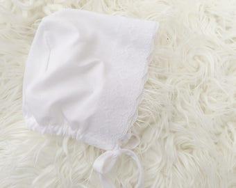 Newborn Photography Prop, Baptism {White Lace Bonnet}