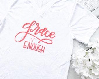 Grace is Enough {White V-neck}