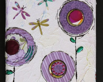 """Original Art, """"A Good Life"""" Mixed Media on Canvas with flowers and concord grapes all in shades of purple"""