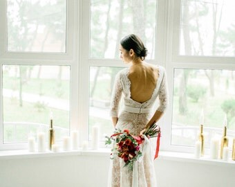 Wedding Chantilly lace dress, Backless wedding dress, low back wedding dress, lace open back wedding dress, backless gown, 0105 // 2017