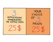 3 impressions of your choice / / Your choice of 3 prints