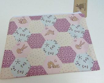 Handmade Makeup Bag, Belle and Boo, Pink Bunny Rabbit, Flowers, Butterfly Cosmetics Zip Case
