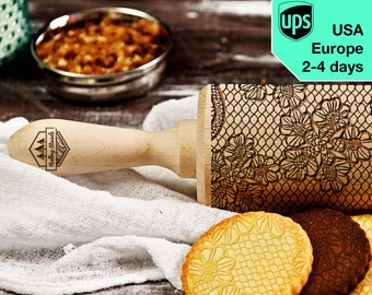 Lace - laser engraved rolling pin, embossing rolling pin