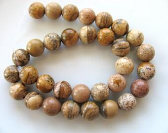 Jasper beads, Picture Jasper, 10 inch strand,  32 beads, 8mm, tan, brown, black, vintage beads, Jewelry supply  B-914