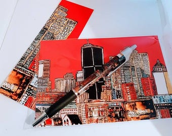 KIT gift - Gift Souvenir Montreal earring, small card and pen Montreal under Red