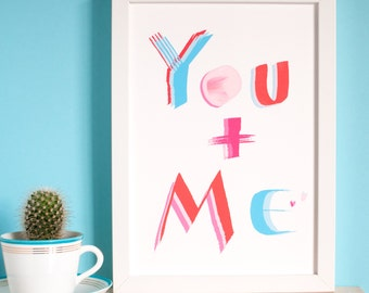 You and Me Best Friend Print, anniversary gift, mother and child, single parent of one child, Valentine gift, framed or not
