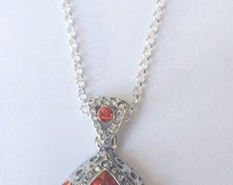 Orange Crystal Teardrop Pendant Necklace