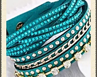 Teal Leather Rhinestone and Beaded Double Wrap bracelet