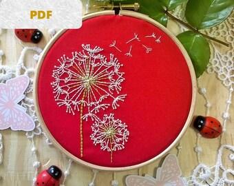 Hand Embroidery PDF: Dandelion, Beginner Needlepoint Design - Modern Embroidery Pattern - spring decor
