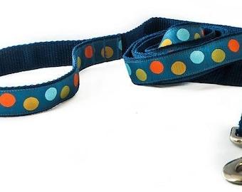 Blue Polka Dot Dog Leash