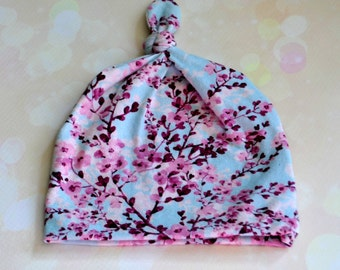 Newborn Baby Infant Knot Hat in Cherry Blossoms with Optional Adjustable Brim up to Six Months
