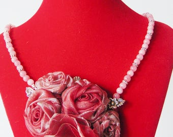 Necklace with red flowers
