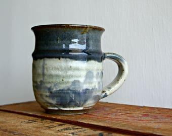Vintage Studio Pottery Mug, Blue Glaze Pottery Mug