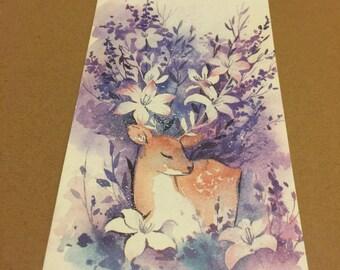 Deer with flowers envelope