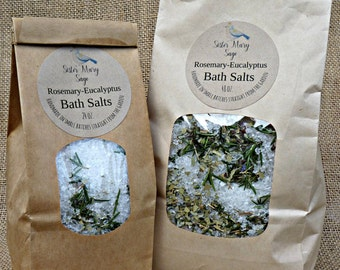 Rosemary Eucalyptus Bath Salts, handmade, essential oils, rosemary and eucalyptus leaves, muscle soak, therapeutic, Sister Mary Sage
