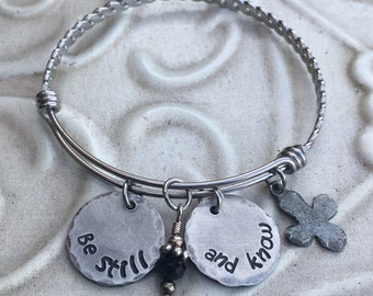 Be Still Christian Hand Stamped  Stainless Steel Pewter Expandable Bangle Bracelet