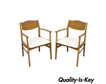 Pair of Young Mfg Mid Century Danish Modern Walnut Teak Curved Dining Arm Chairs