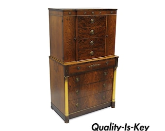 antique rosewood french empire regency style dresser gentlemans chest 12 drawers