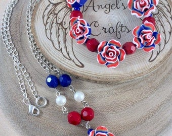 Fourth of July,  Ladies jewellery, Patriotic jewellery, Independence Day,  Memorial Day, Patriotic gift, Navy,  Red white and Blue, OOAK