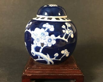 Chinese Blue and White Porcelain Lidded Ginger Jar Prunus Flowers 3.5""