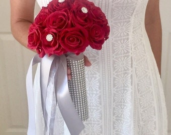 Real Touch Rose Bouquet, Red Rose Bouquet, Real Touch Red Rose Bouquet, Brooch Bouquet, Bling Bouquet, Bridesmaid Bouquet, Wedding Bouquet,