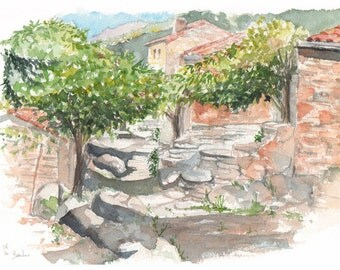 Original watercolour - Bardou Village - South of France
