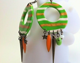 Green circles earrings