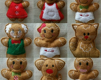 Cute gingerbread family members Christmas tree decorations can be brought individually or as a set of 6 or 9.