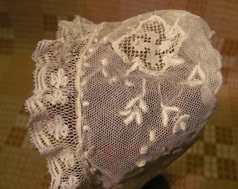 Antique Doll Bonnet Delicate Lace Beautifully Handmade