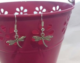 Dragonfly Dangle Earrings, Damselfly Drop Earrings,  British Nature, Costume Jewellery, Fish Hook Earring, Springtime, Spring Trends