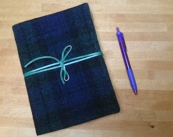 Harris Tweed Boswell Bujo Notebook Cover - A5 size - Black Watch Blackwatch Tartan Leather Wrap Tie - Handmade writing journal wedding guest
