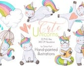 Cute animal clipart, Unicorn Clipart, Planner Sticker Graphics, Cute Unicorn Set, Hand-painted clipart, Rainbow clipart, Unicorns  stickers
