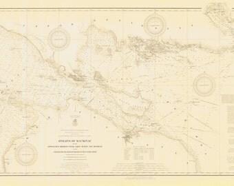 Strait of Mackinac Historical Map 1910
